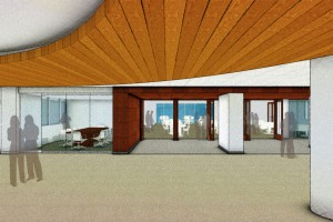 This artist's rendition from Shipley Bulfinch shows the new glass doors between Rastall and the Perkins Lounge area.