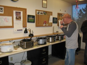 A taster at the chili cook-off