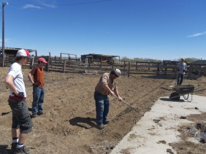 From left to right working on the ranch are Alex Summerfelt, Jake Sullivan, Doug Wiley, and Alex Harleen. Skyler Trieu also was part of the project.