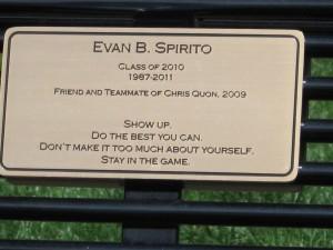 Evan Spirito plaque