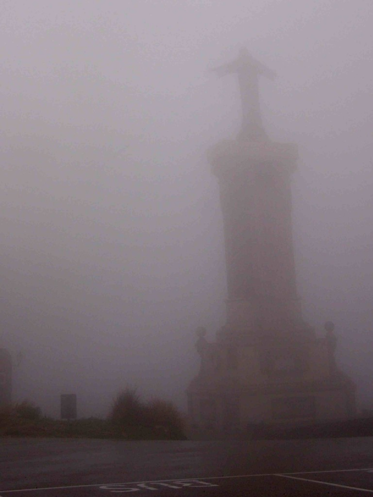 Started the day out by driving to the highest point on the island to see across to mainland Spain. The view was slightly obscured by the cloud we drove into. We could barely see monument at the mountain top monastery.