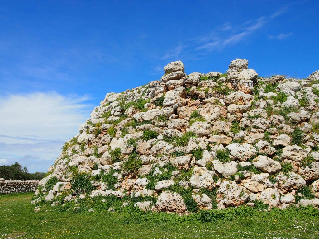 Using huge (large, massive, gynourmous, honestly these rocks are BIG), the original inhabitants of the Balearic Islands, the Talayotic, built solid watchtowers among other architectural structures.