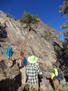 Christine Siddoway explains the processes behind inverted topography demonstrated by jointing in the andesitic-basalt at Buckwowerth