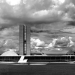 National Congress Building, designed by Oscar Niemeyer. The seat of the Senate is on the left (upside down bowl), and the seat of the Chamber of the Deputies seat is on the right (right side up bowl).