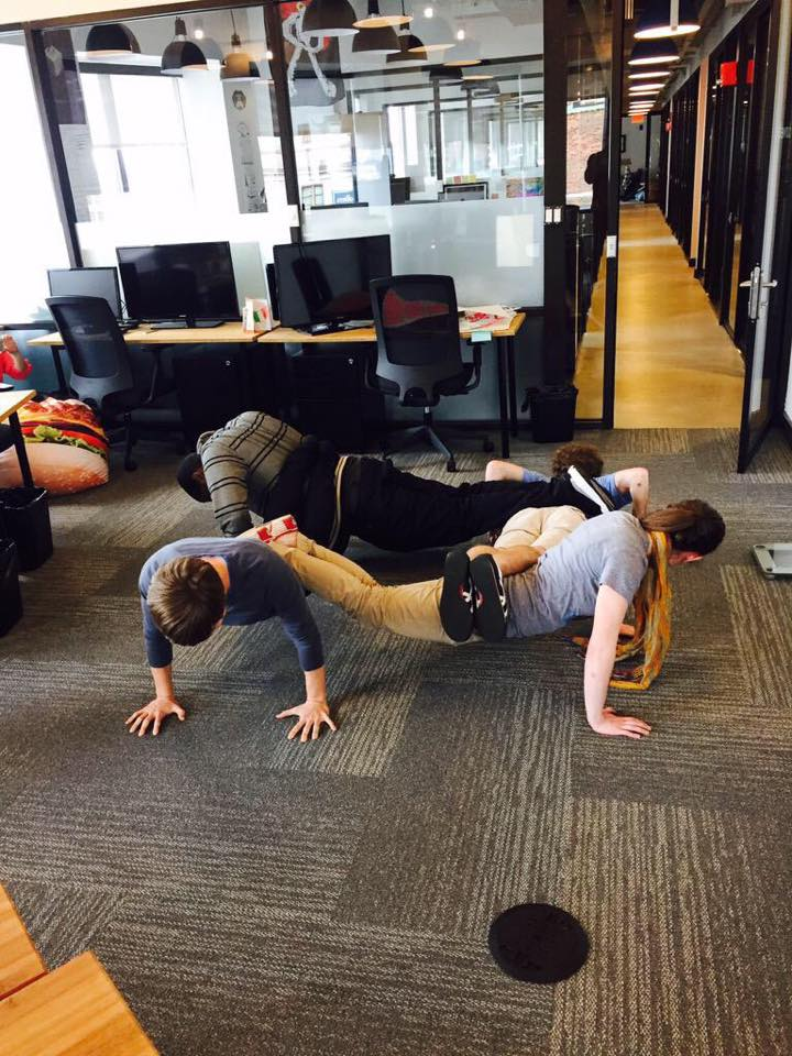 We plank daily at 3:30 with our office neighbors! I thought it would be fun to try a group push up for extra athleticism :)