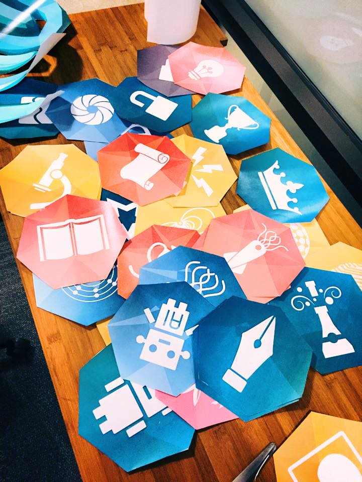 Yesterday we decorated the new office we are renting. Here are printed out versions of badges you can win in game. They now grace the walls of WeWork!