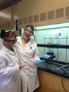Students get psyched to do the last step of the synthesis.
