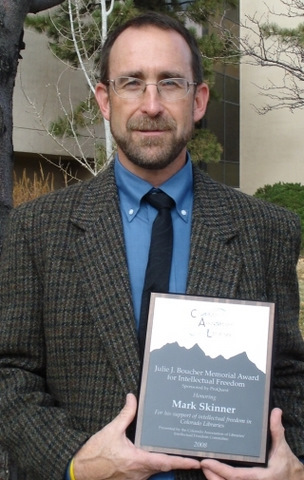 Mark Skinner 82 received the 2008 Julie Boucher Intellectual Freedom Award from the Colorado Association of Libraries for his efforts in getting a banned book reinstated on the library shelves of Ortega Middle School in Alamosa, Colo. The Golden Compass by Philip Pullman was pulled off the shelves because of controversy surrounding the authors religious point of view. The local community rallied to the defense of students right to read and the schools administration reversed its decision to pull the book. Mark is the teacher-librarian at Alamosa High School.