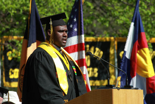 Blake Hammond 09, senior class president, addresses the crowd.