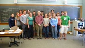 David Helms '65 and his students from the Economics of Health Care Class.