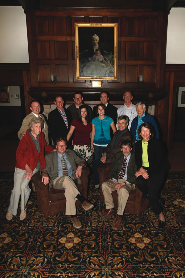 Members of the Bemis family with Judson M. Bemis Professors in the Humanities Owen Cramer, Dave Mason, and John Riker. Photo by Brad Armstrong.