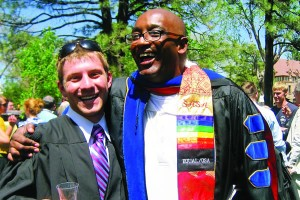 Ben Beadle-Ryby '09 posed for a graduation photo with Mike Edmonds, vice president of student life and dean of students.