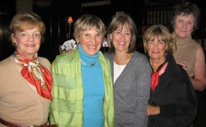 Sally Sikes Wilde '64, Sue Heidel Lotz '64, Traer Frazier Sunley '64, Becky Dunbar McAlpine '64, and Joan Schmitz '64 gathered in Toronto, Ontario, Canada, in October 2009.