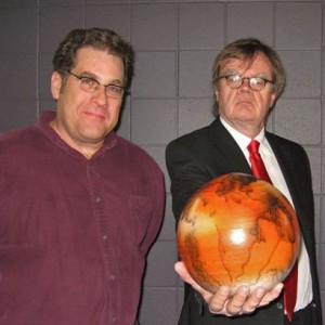 Jeff Bieri, KRCC's program director, with Garrison Keillor at the Colorado Springs World Arena.