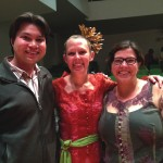 Balinese gamelan concerts  in CC's Packard Hall were part of the 20th Anniversary of Indonesian Music and  Dance at CC Celebration. Attending, from the Class of 2000, from left, Ryan  Banagale (also assistant professor in the Music Department), Kristina  Schauer, and Liz Macy.