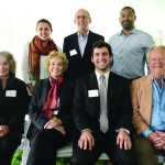 Front row, from left: Alumni Association Board members Susan Burgamy '66 (President's Circle) and Chris Moon Schluter '65, Jacob Kirksey '15, and board member Jeff Haney '76. Back row, from left: Emma Whitehead '16, and board members Les Goss '72 and Tony Rosendo '02.
