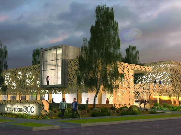 A rendering of a portion of the proposed building for innovation. Rendering provided by MASS Design Group.