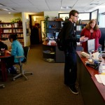 Staff members at the Career Center help students with employment searches and information gathering in March 2015.