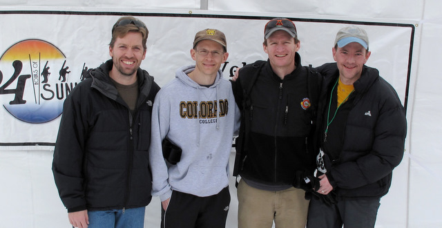 """Justin Lippard '96, Blaine Olsen '96, Nick Watterson '96, and Scott Grosscup '96 (left to right) got together at Sunlight Mountain Resort near Glenwood Springs, Colo., in February to test their physical limits in the 4th Annual 24 Hours of Sunlight endurance ski race. As a four-man team, they climbed a total of 43,558 feet, completing 29 laps and covering a distance of 40.6 miles in 24 hours. They finished 20th out of 50 teams. Of 221 total laps completed in their classification, Scott turned in the seventh fastest time and four of the fastest 20 times.  Nick and Blaine were not far off that pace. Justin remarked, """"It remains unclear whether Justin knew the event was actually a race."""""""