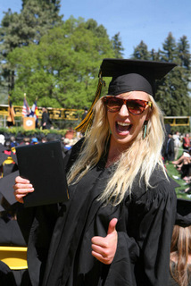 Claire Williams '09 gives the thumbs up.