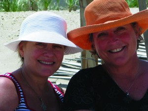 Two members of the Class of '77, Libby Kerr Michaud and Jane Eubell Meyer, and their families met on the Jersey shore in Mantoloking, N.J. It was their first reunion in 32 years.