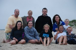 Three members of the Class of '88 reunited in Nantucket, Mass., in August 2009, and participated in a local beach reclamation project; from left, Jonathan Behrins, Jenifer Hendee Behrins, and Kevin Carroll, Sheila Carroll; Liam Carroll; Abigail, Alexandra, Beatrice and Elizabeth Behrins, and Patrick Carroll.