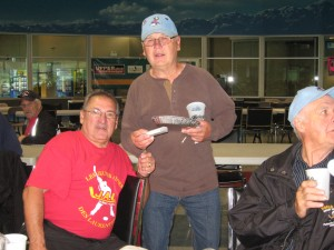 Two former hockey players from the Class of '63 met at Parksville, B.C., for a hockey tournament of players 70 years and older. Gill Grabosky and Jacques Rivard were meeting for the first time in 46 years. Gill plays for the Sharks of Calgary and Jacques for Les Boys de Quebec.