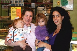 Classmates Melanie Temin '95 and her son, Elijah, and Michelle Rodolf '96 and her daughter, Francesca, met at Fiore's Bakery in Jamaica Plain, Mass.