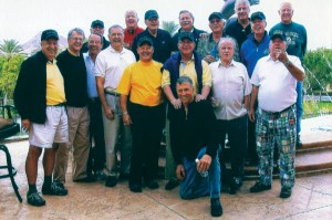 "Art Berglund '63 provided this photo of the Hail CC Reunion held Oct. 11–14, 2009, in Las Vegas: Kneeling, Bill Goodacre '62. Front row, left to right: Bill ""Will"" Pelz '64, Barry Harrison '62, John Simus '64, Ken Hartwell '62, Mike ""Barrie"" Carter '66, Normand Laurence '63, Don Sprinkle '64, ""Little Dickie"" Love '64. Back row, left to right: Jeff Sauer '65, Chuck ""Punch"" Mason '69, Art Berglund '63, Dave Lewis '63, Marv Parliament '64, Bruce Mahncke '69, Wayne McAlpine '64, Ken Hanson '64. Attending but not pictured: Stan Moskal '62, Bob Otto '66."