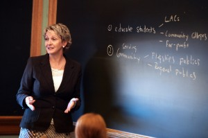 President Tiefenthaler in her Economics of Higher Education class.