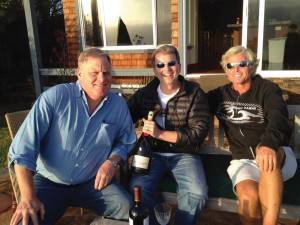 Celebrating the new purchase of Club Neptune in Encinitas, Calif., in April 2012, were, from left, Monroe Hemerdinger (close friend), Vic Koby '82, and Mark Reedy '82.