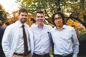 """Attending the """"Commitment to Medicine Ceremony"""" for Jack Ludwig '10: Jack and Jim Ludwig '07 and Tendo Kironde '09, at the Alpert Medical School at Brown University. Jack and Tendo are first- and second-year medical students there, and Jim is a senior analyst and system strategist at Ascension Health."""