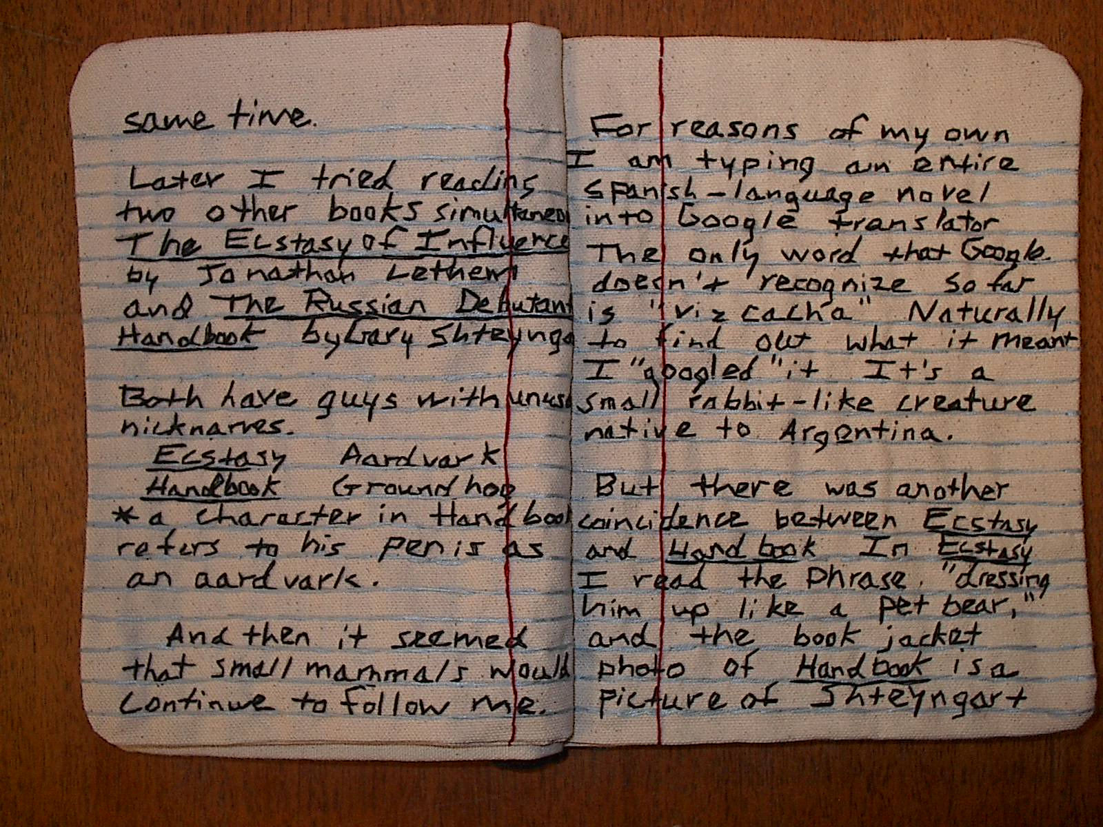 Embroidered composition book by Candace Hicks | CC Special Collections