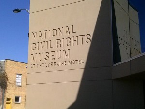 The National Civil Rights Museum. The Exhibit path ends with the Lorraine Motel, both the balcony where Martin Luther King Jr. was shot and the presumed site from which his killer is presumed to have fired shots.