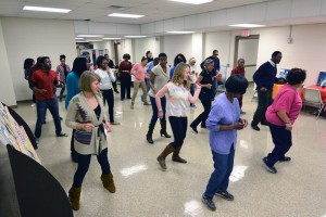 CC students take line dance class at a Nashville area church. Participant ages ranged from high school to 83 (woman at front in purple shirt).