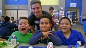 Teddy Rose with lunch buddies at Center School District