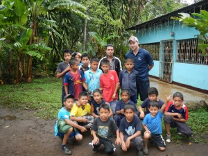 Hoisington with his youth soccer league in Nicaragua
