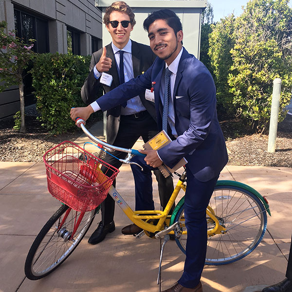 Oliver Jones '20 and Eyner Roman-Lopez '19 enjoy the amenities of Google's Mountain View, California campus.