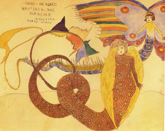 Henry Darger, Child-Headed Whiplash-Tail Blengins, Watercolor on paper, Collection of the American Folk Art Museum