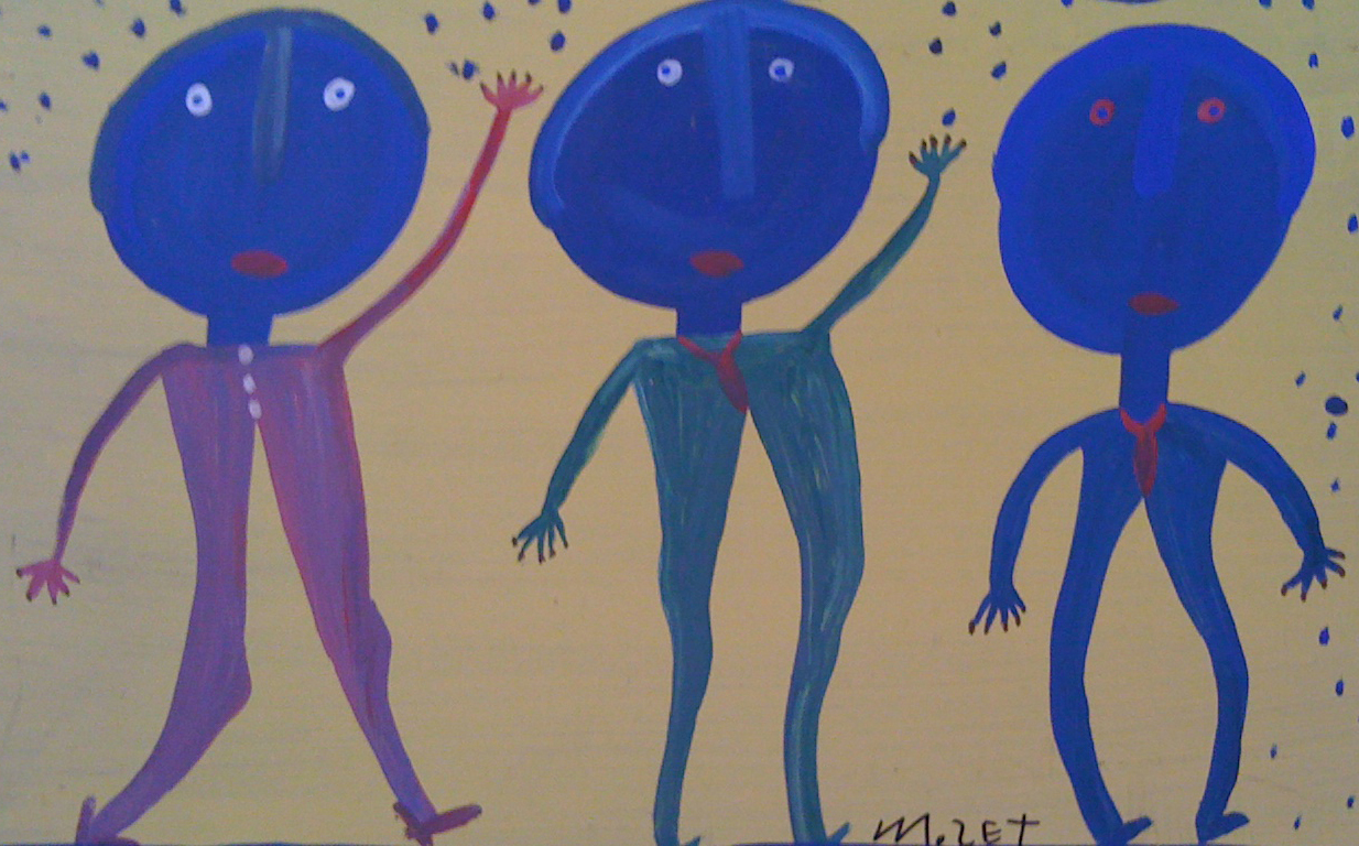 Mose Tolliver, Three Blue Men (detail).