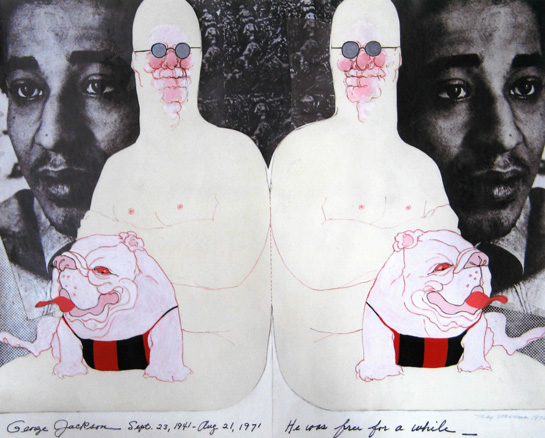 May Stevens, Big Daddy and George Jackson, 1972, Collage on paper, 22 x 27.5""