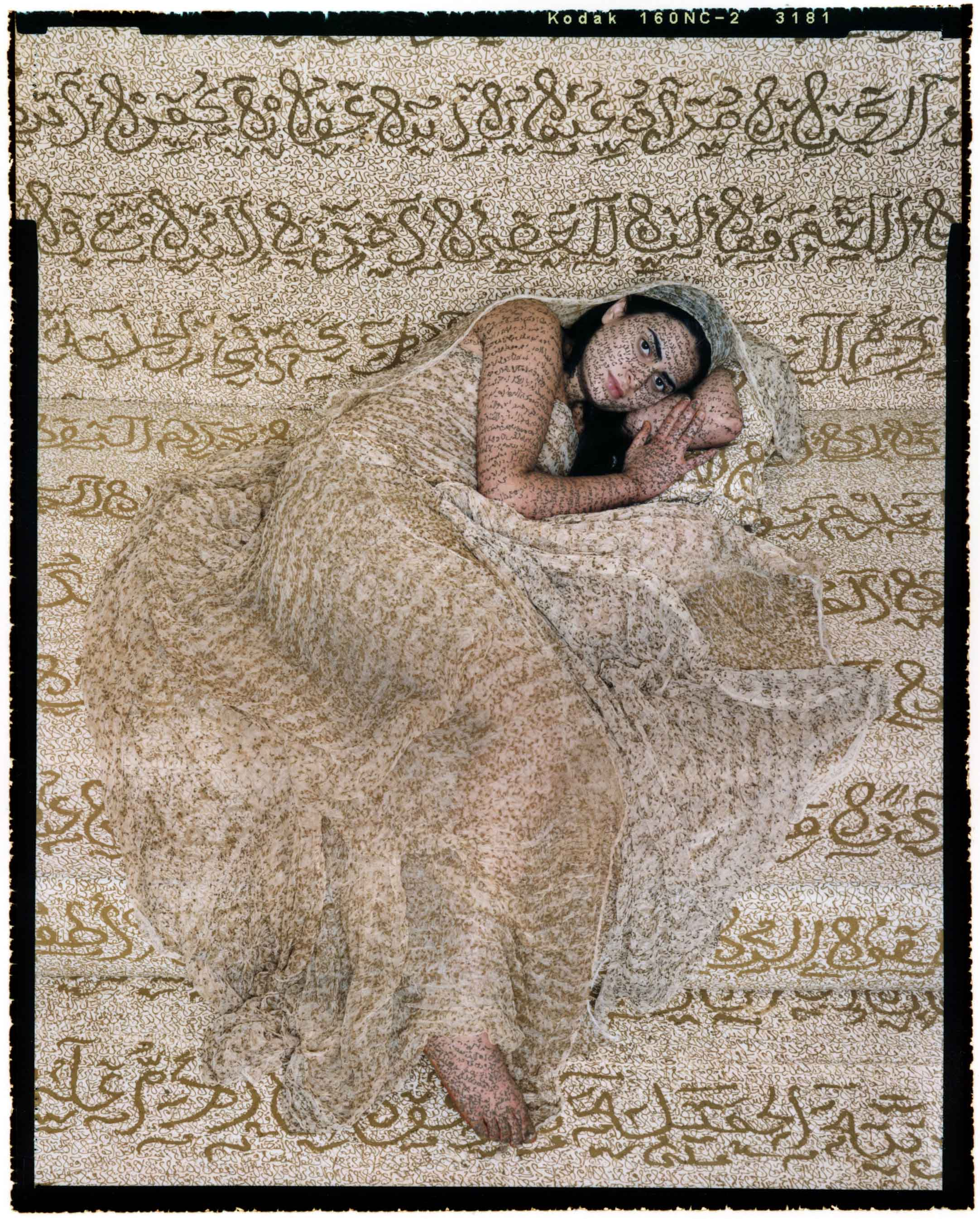 "Les Femmes du Maroc Revisited #7, 2010 Chromogenic print mounted to aluminum with a UV protective laminate, 60 x 48"" © Lalla Essaydi/Courtesy Jenkins Johnson Gallery, San Francisco and Edwynn Houk Gallery, New York"