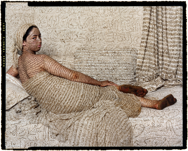 "Lalla Essaydi, Les Femmes du Maroc: La Grande Odalisque #2, 2008 Chromogenic print mounted to aluminum and protected with Mactac luster laminate, 40 x 30""  © Lalla Essaydi/Courtesy Jenkins Johnson Gallery, San Francisco and Edwynn Houk Gallery, New York"