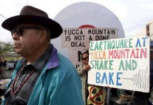 A Shoshone leader at a protest in 2000. Source: http://www.thegully.com/essays/US/politics/020327_yucca_mountain.html