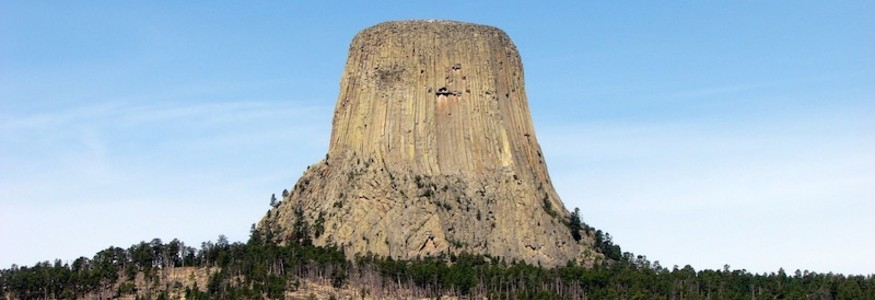 Devils Tower National Monument in Wyoming, popular tourist destination and sacred place for the Lakota