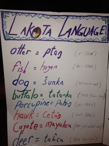 An answer sheet with the English word for each animal, the Lakota word, and the syllable pronunciation.