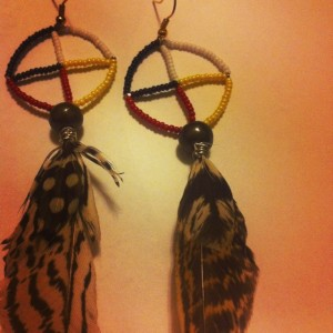 Lakota Medicine Wheel earrings crafted by yours truly.
