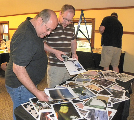 Gerald and David White picking out pictures for the next round in the creativity exercise.