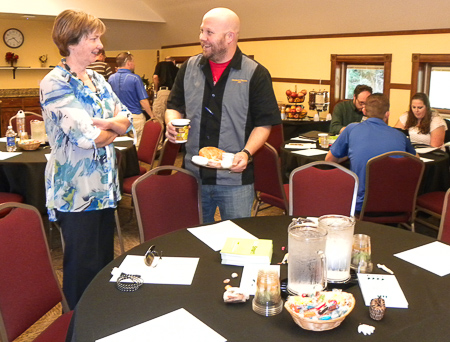 Matt and Professor Jane Hilberry have a chat prior to the retreat.