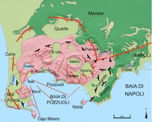 Geological map of the Campi Flegrei, or Phlegrean Fields, an active volcanic region forming the western Bay of Naples. Image credit: www.meteoweb.eu/2013/05/.  An enormous eruption from this site occurred 35,000 years ago: an estimated 80 cubic km of ash was erupted, to form the Campanian Tuff. The width of the caldera, marked by arcuate red line symbols, is ~13 km.  Monte Somma-Vesuvio lies just to the east.